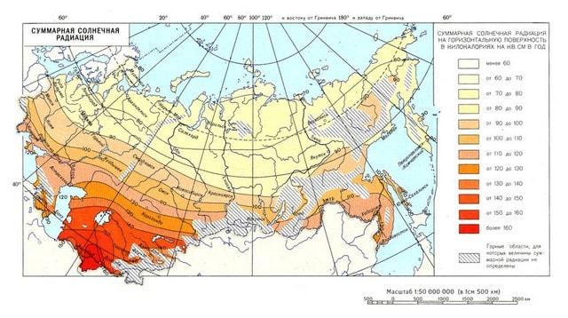 Карта суммарной годовой солнечной радиации