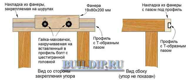 Делаем боковой упор для столярного верстака - чертеж