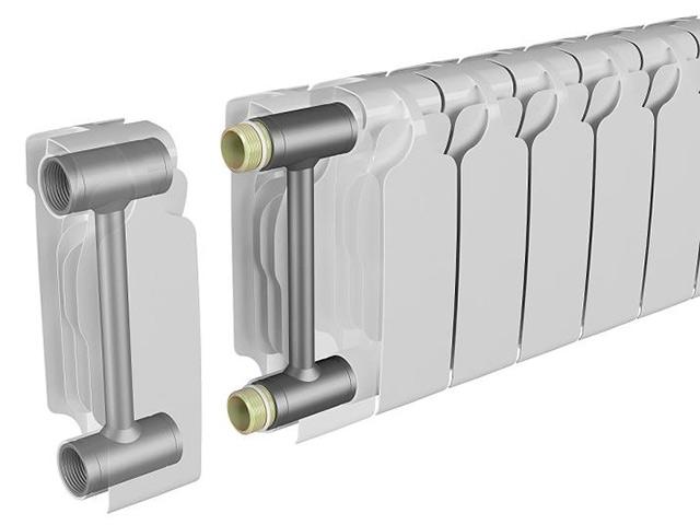 Соединение секций биметаллического радиатора отопления.